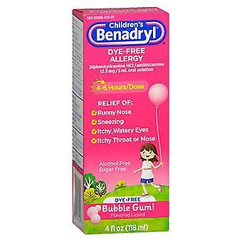 بينادريل بينادريل الأطفال خالية من صبغ الحساسية السائل فقاعة العلكة النكهة، 4 أوقية