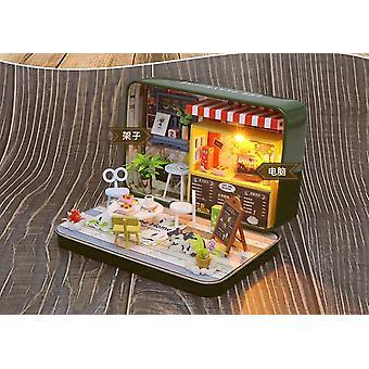 Nieuwe miniatuur pop huis merk ijzeren doos theater micro landschap diy speelgoed houten huis 3d met de hand gemonteerde kinderen educatief speelgoed cadeau
