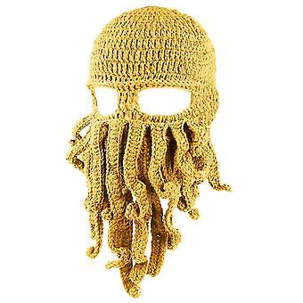 Octopus Hat Funny Masked Handmade Crocheted Woolen Warm hat(Yellow)