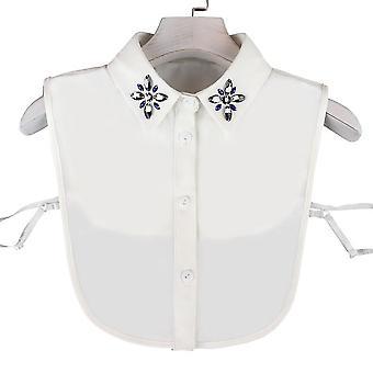 fake krage rhinestone avtakbar bluse diamant innlagt halv skjorter