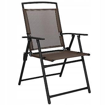 Tuinstoel terrasstoel metaal - bruin & zwart - opvouwbaar 57 x 40 cm