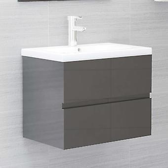 vidaXL Waschbeckenunterschrank Hochglanz-Grau 60x38,5x45 cm Spanplatte