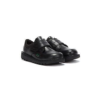 Kickers Toddlers negru piele Scuff Lo Pantofi
