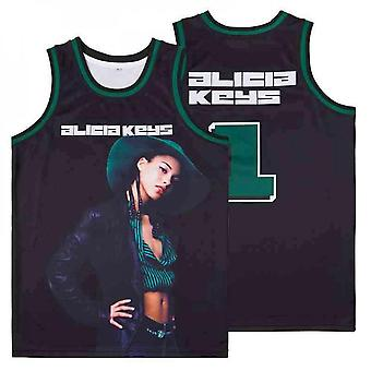 Mens Basketball Jersey #1 Alicia Keys Fans Jerseys 90s Moive Space Sports Shirts 90s Hiphop Party Clothing Stitched S-xxl