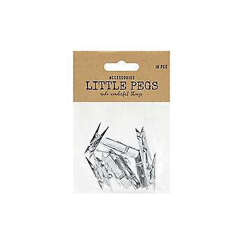 LAST FEW - 10 Plastic 35mm Metallic Silver Midi Pegs for Crafts | Wooden Shapes for Crafts
