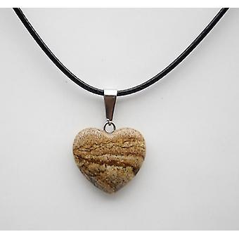 Natural Stone Heart Pendant, Quartz Crystal Agates Turquoises Malachite(Beige)