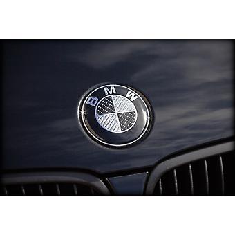 BMW Carbon Fibre Zwart/Zilver Motorkap Motorkap Badge Embleem 82mm