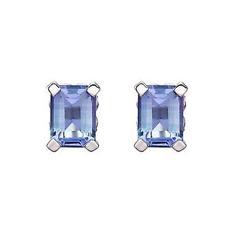 HS Johnson HSJ-GE2288 Women's 9ct White Gold Blue Topaz Stud Earrings