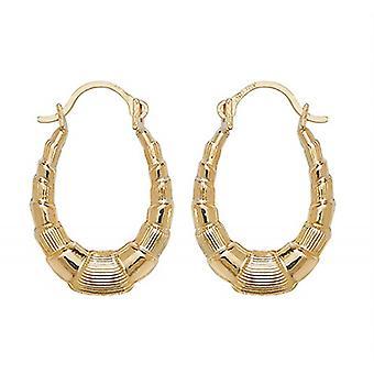 HS Johnson HSJ-ER063 Women's 9ct Gold Oval Creole Earrings