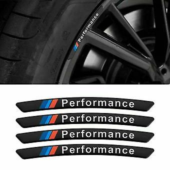 4ST legering M PRESTANDA Fälg Klistermärke Emblem Set för BMW Gloss Black - Passar