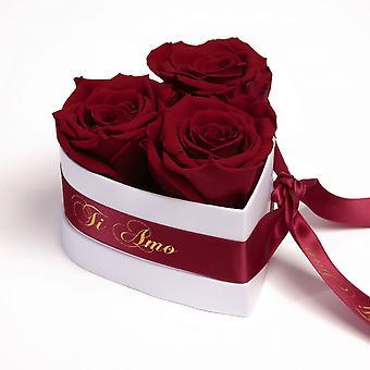 Ti Amo Roses Heart Box 3 Eternal Roses i mörkröd hållbar 3 år