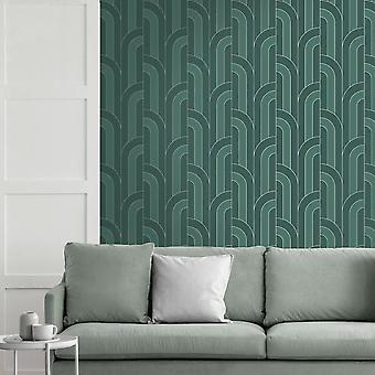 Fine Decor Cascade Arch Emerald Silver Wallpaper FD42842