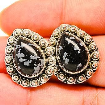 """Snowflake Obsidian Earrings 7/8"""" (925 Sterling Silver)  - Handmade Boho Vintage Jewelry EARR419805"""