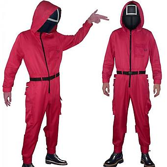 Squid Game Costume Red Jumpsuit With Belt Gloves, Cosplay Halloween Costume