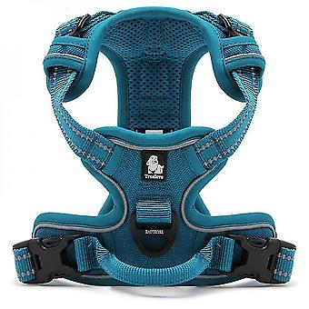 Blue xl no pull dog harness reflective adjustable with 2 snap buckles easy control handle mz1021