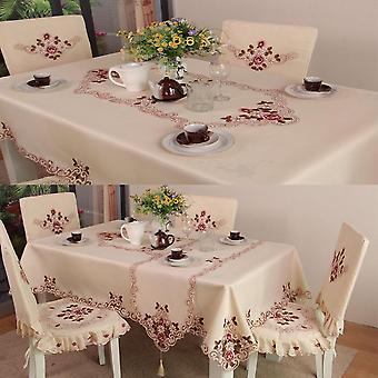 European Pastoral Rectangle Embroidery Tablecloth Home Dining Table Runner
