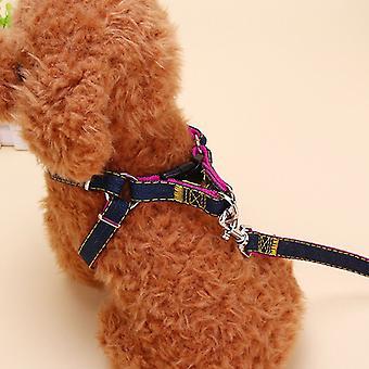 Pet Dog Nylon Harness Collars 3pcs / set Réglable Pet Leash Traction Belt Rope