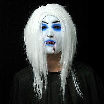 Vieille femme Masque de sorcière Visage vert Halloween Effrayant Horreur Cosplay Costume