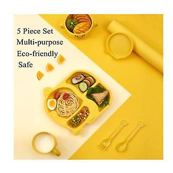 Ensemble de vaisselle d'enfants de 5 pièces, plaques et ensemble de bols d'enfant en bas âge, ustensiles environnementaux d'enfants