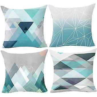 Geometriset tyynynpäällinen 18x18 pehmeä muhkea kangas heittää tyynynpäällinen 45cm X 45cm sarja 4kpl sinivihreä