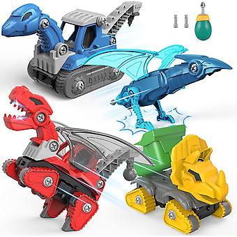 4pcsdiy Disassemble Dinosaur Car Construction Vehicle Dinosaur Toy Boy Girl Birthday Christmas Gift