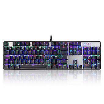 Ck104 Tastatura mecanica pentru jocuri cu fir lumina de fundal cu 104 taste pentru switch-uri albastru francez