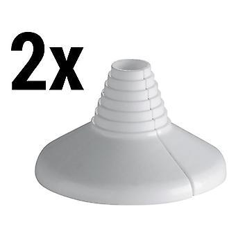 2 x col blanc Pipe à eau en plastique couvercle Rose Rosette 10-22mm diamètre universel