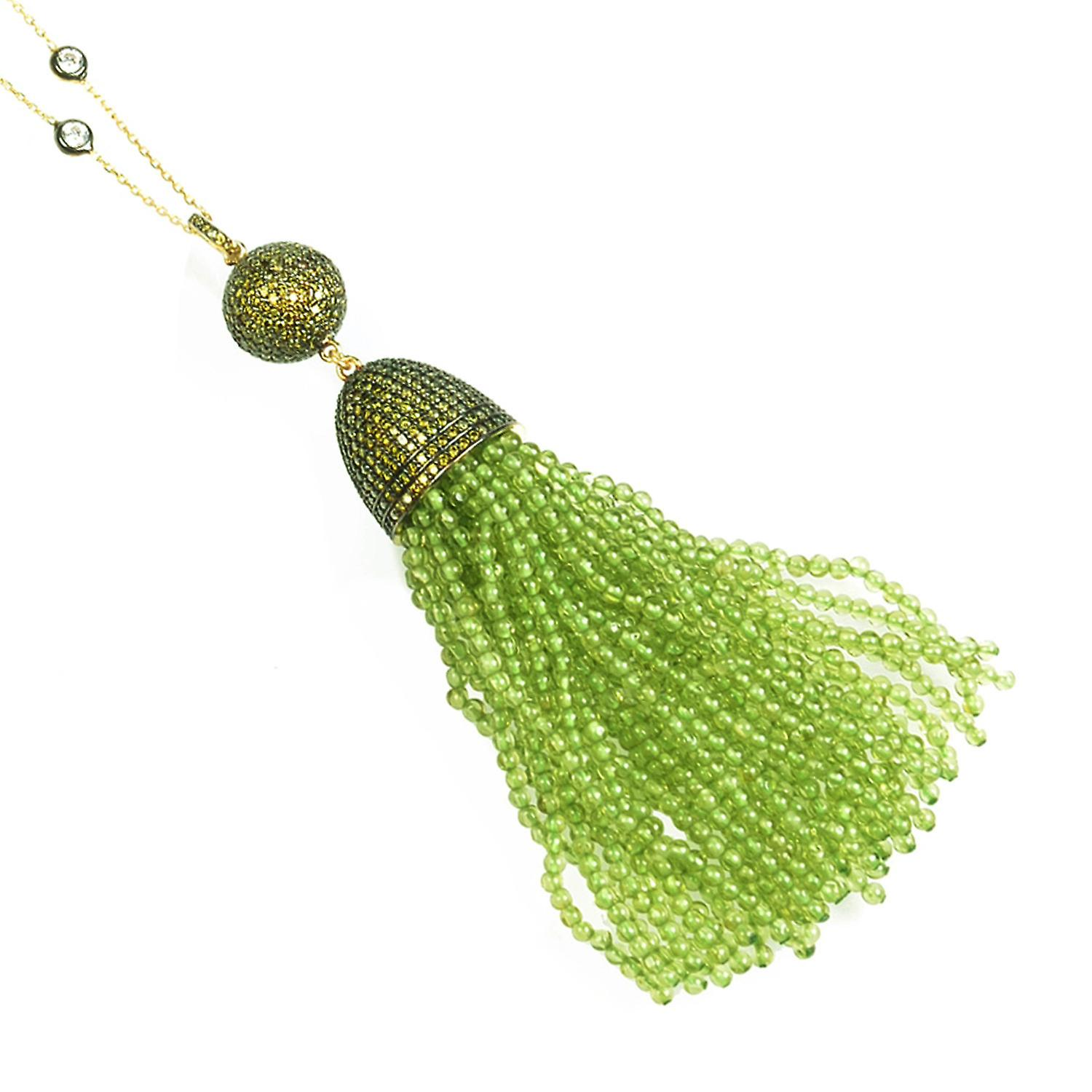 925 Sterling Silver Tassel Ball Chain Necklace with Peridot Green Gold  CZ