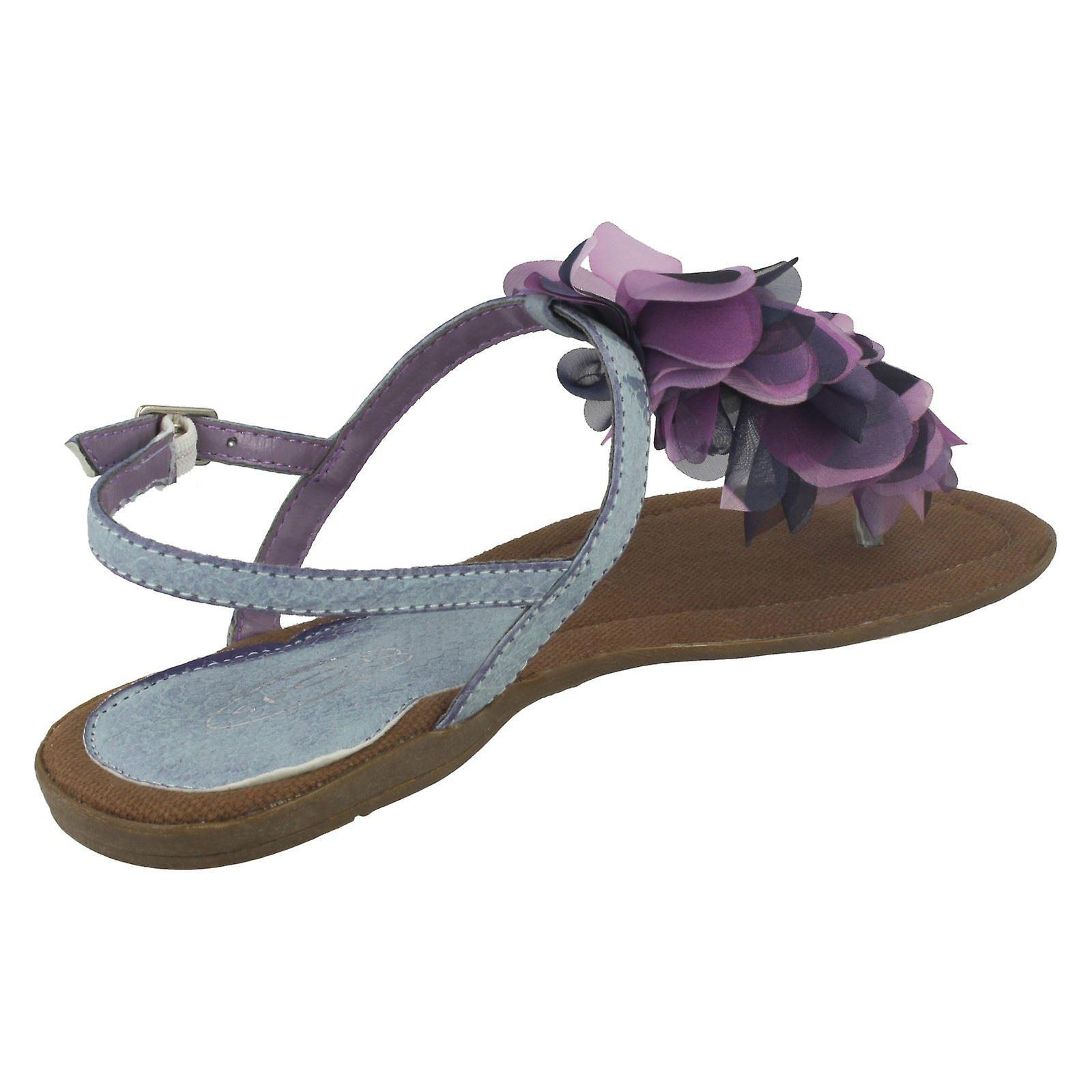 Ladies Flekk På Flat Toe Innlegget Sandal Med Blomst Detaljer