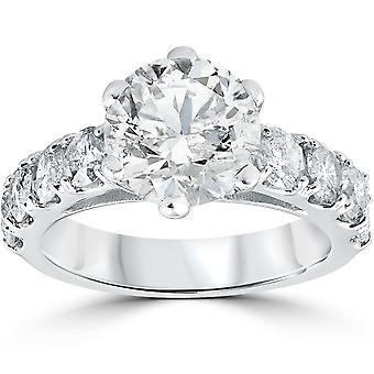 4 1/2 قيراط الجولة تعزيز الماس خاتم الخطوبة 14 ك الذهب الأبيض
