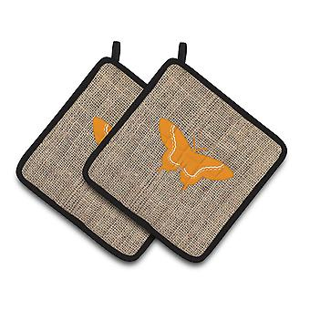 Butterfly Faux Burlap and Orange   Pair of Pot Holders