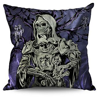 Rock Skull Warrior Metal Linen Cushion 30cm x 30cm | Wellcoda
