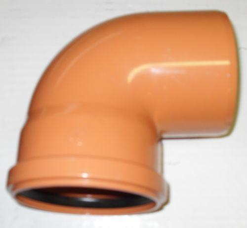 Soil Pipe 160 mm - 90 degree Bend - Push-Fit - Underground - Brown - 6''