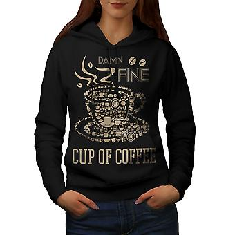 Coffee Cup Hot Fine Food Women BlackHoodie | Wellcoda