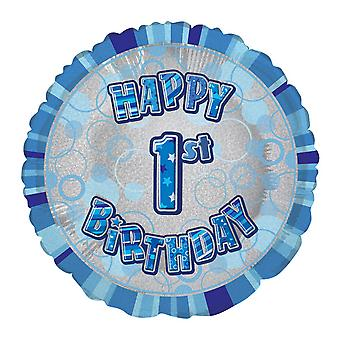 Unique Party 18 Inch Circle Blue Happy Birthday Foil Balloon