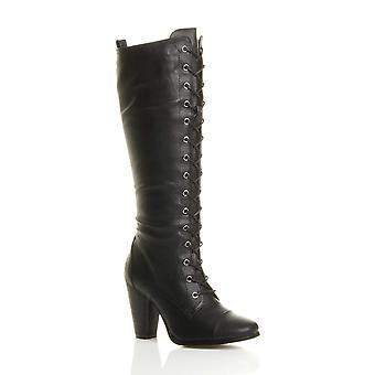 Ajvani womens high chunky block heel lace up calf knee military combat biker boots