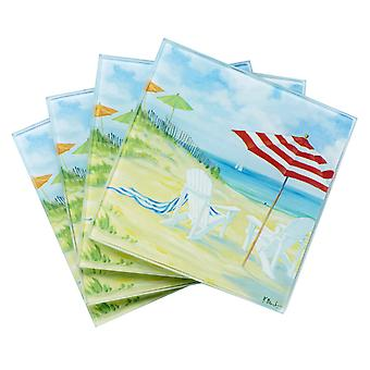 Perfect Beach Day Glass Drink Coasters Set of 4