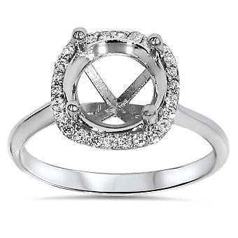Sertissage de bague de fiançailles diamant coussin Halo 14K or blanc