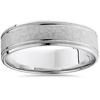 Mens gehamerd 14K witgoud Comfort Fit Ring Band nieuw