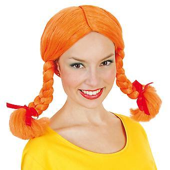 Gades oransje parykk flettene frekke jenta