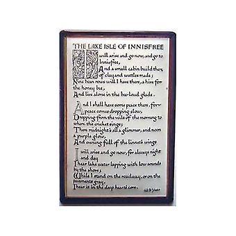 Jezioro Isle Of Innisfree poematu Yeats wytłoczony znak stali