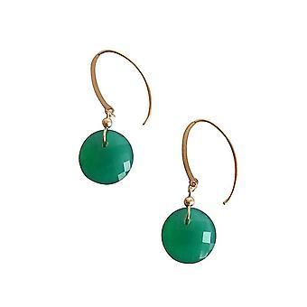 Gemshine - dames - oorbellen - verguld - facetten Onyx - groen--2 cm