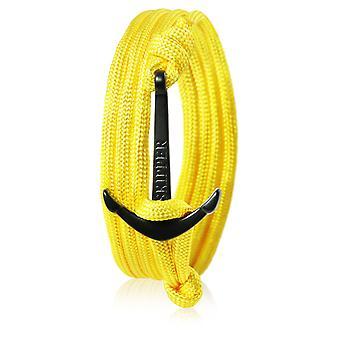 Schipper anker armband armband nylon geel met zwarte anker 7359