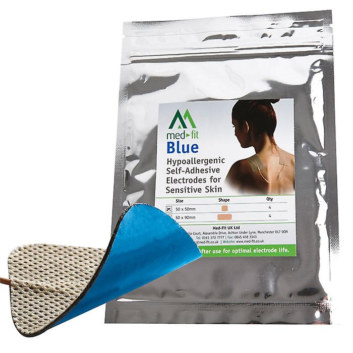 Med-Fit Blue Electrodes for Sensitive Skin 5x5cm with new chart