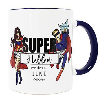 Super héroes taza de Super Heroes en junio nace blanco, cerámica, lavavajillas.
