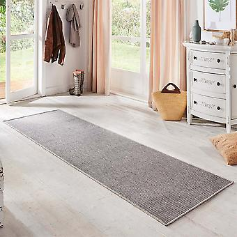 Flat fabric runner nature silver grey in a sisal look