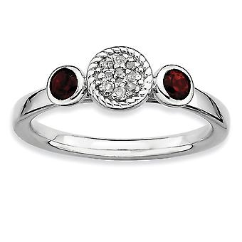 925 Sterling Silver Bezel Polished Prong set Rhodium plated Stackable Expressions Db Round Garnet and Dia. Ring Jewelry