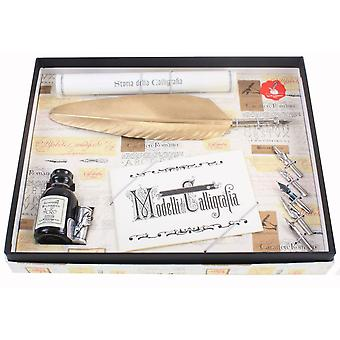 Coles Calligraphy Feather Quill & 5 Nib Set - Gold