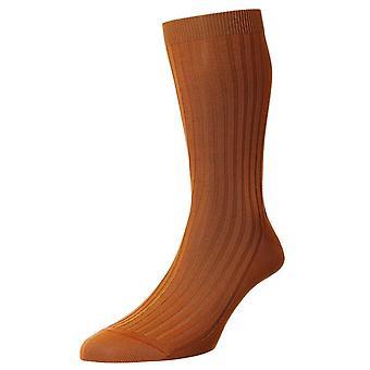 Pantherella Danvers katoen sokken in Schotse draad - komijn-oranje