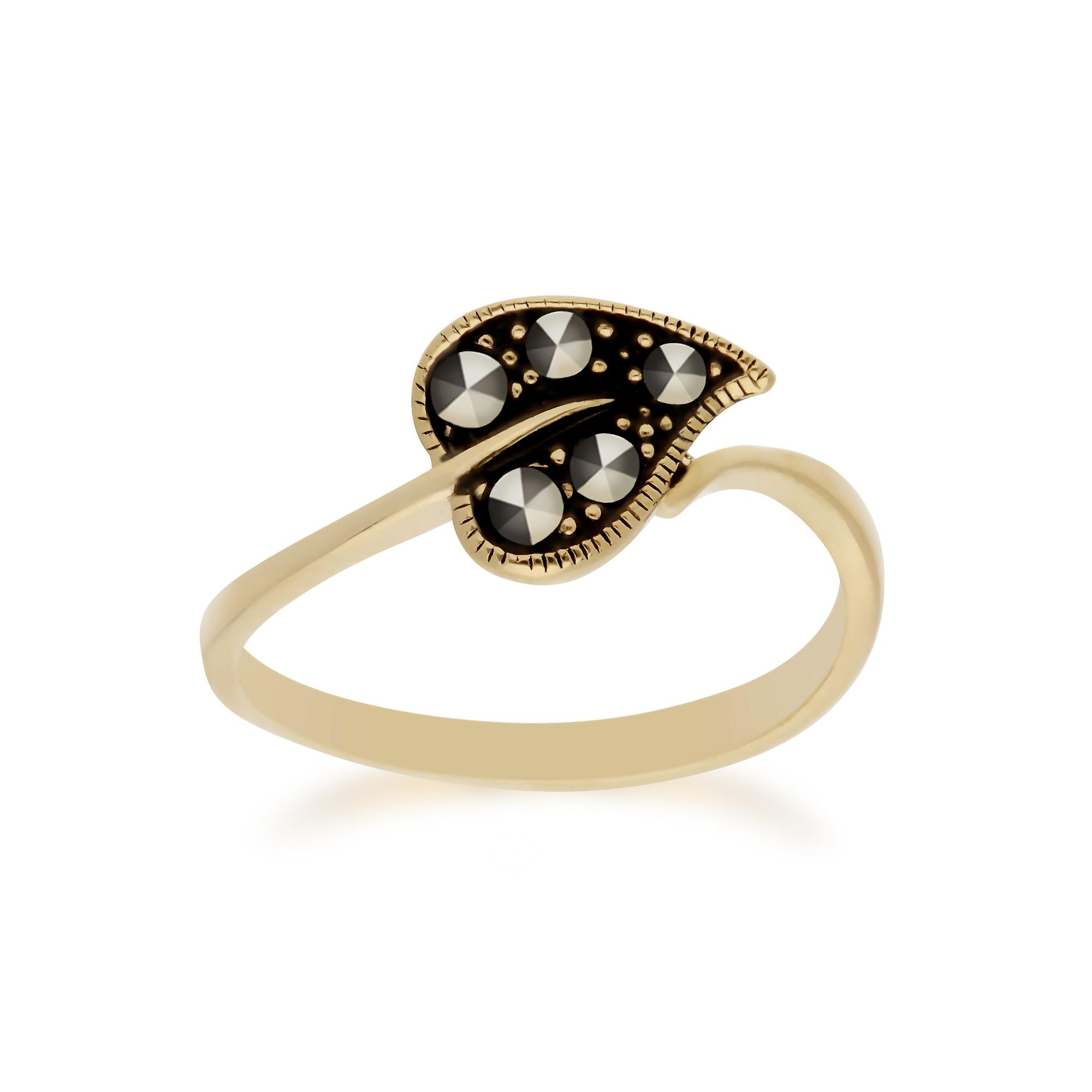 Gemondo Yellow Gold Plated Sterling Silver Marcasite Leaf Design Ring